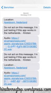 Printscreen van de SMS-jes die mijn vriend ontving n.a.v. mijn 'hulp-vraag'.