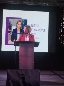 Minister President Evelyn Wever Kroes spreekt de professionals toe
